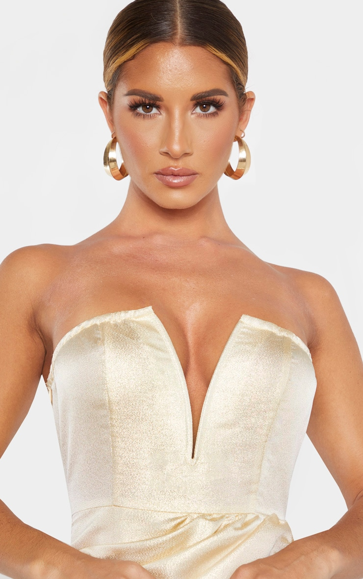 Champagne Textured Glitter V Bar Bandeau Ruched Bodycon Dress 5