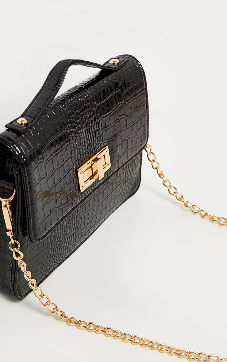 Black Patent Croc Mini Bag 2