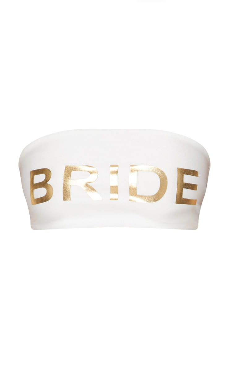 Bride Slogan White Bandeau Bikini Top 3