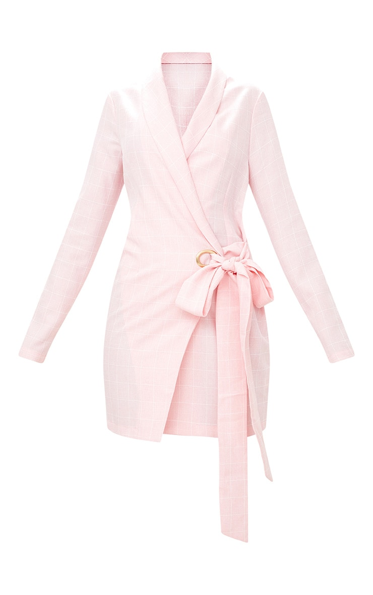 Pink Checked Blazer Dress 3