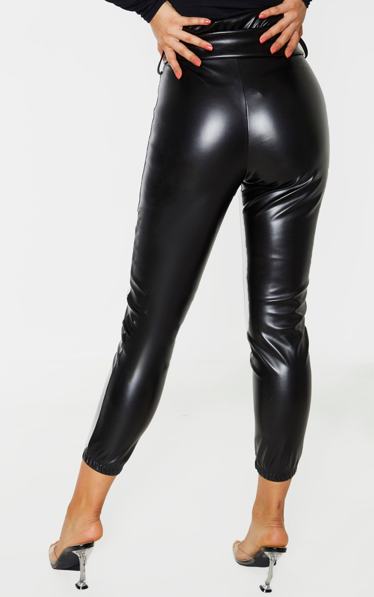 Tall Black Ruched Waist PU Pants 4