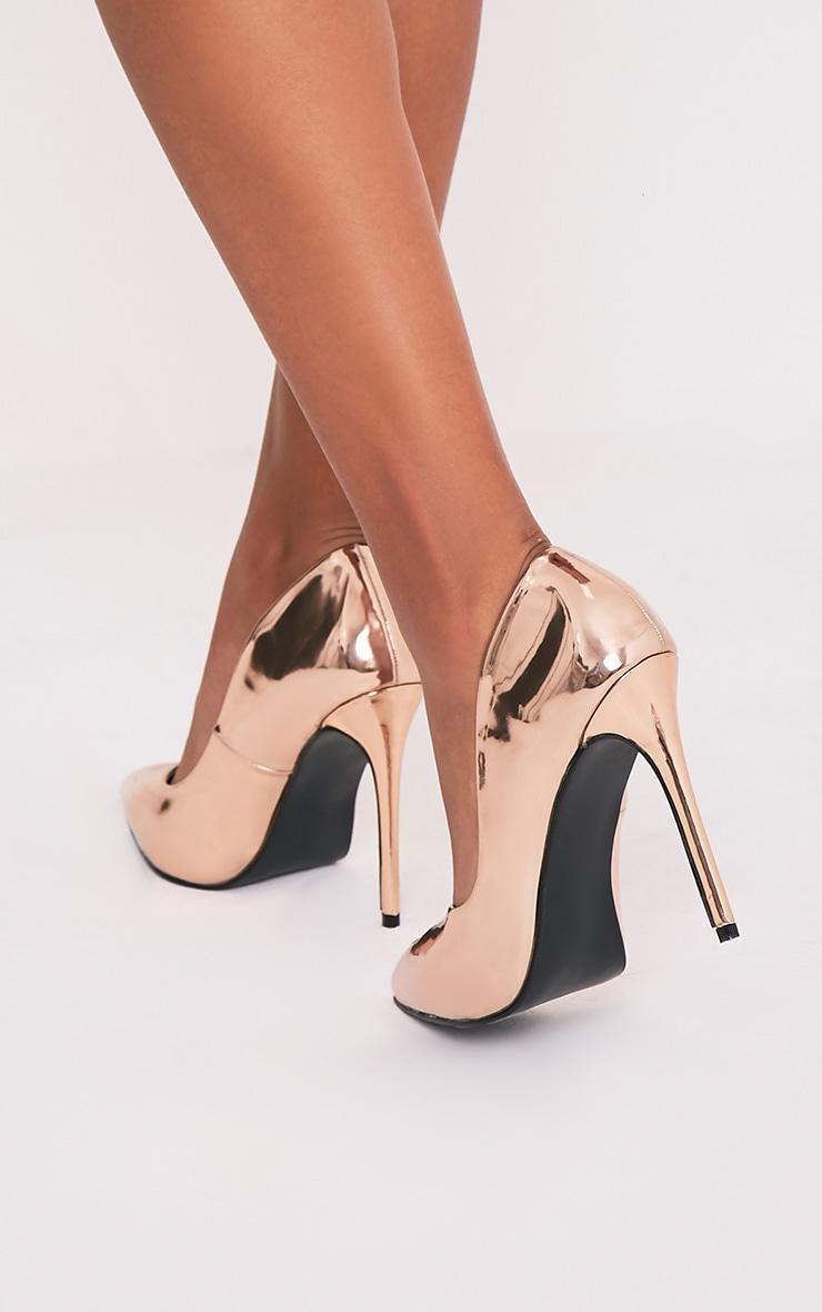 Deena Rose Gold Metallic Patent Court Shoes 2