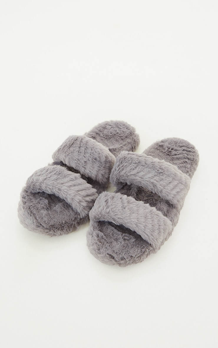 Grey Chevron Quilted Fluffy Two Strap Slippers 3