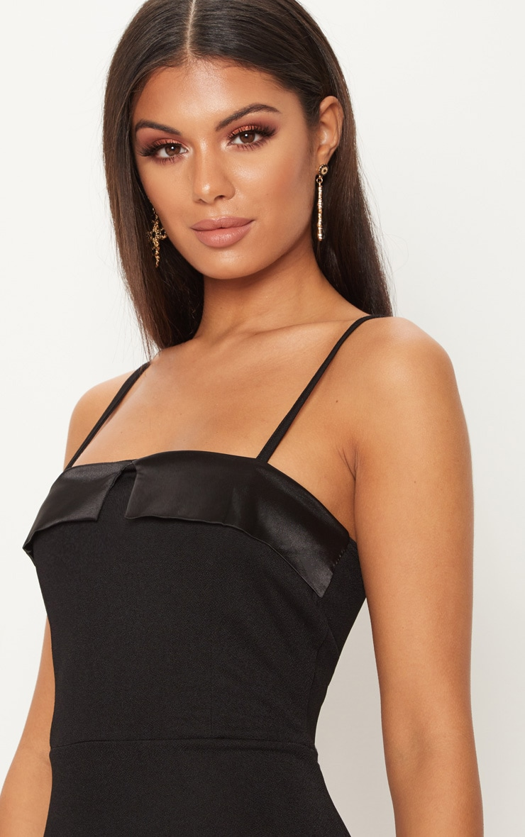 Black Strappy Satin Lapel Bodycon Midi Dress 5