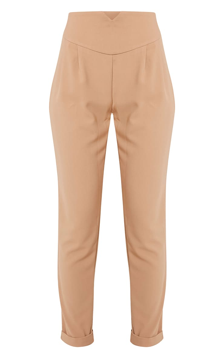 Elenor Camel High Waisted Tapered Trousers 3