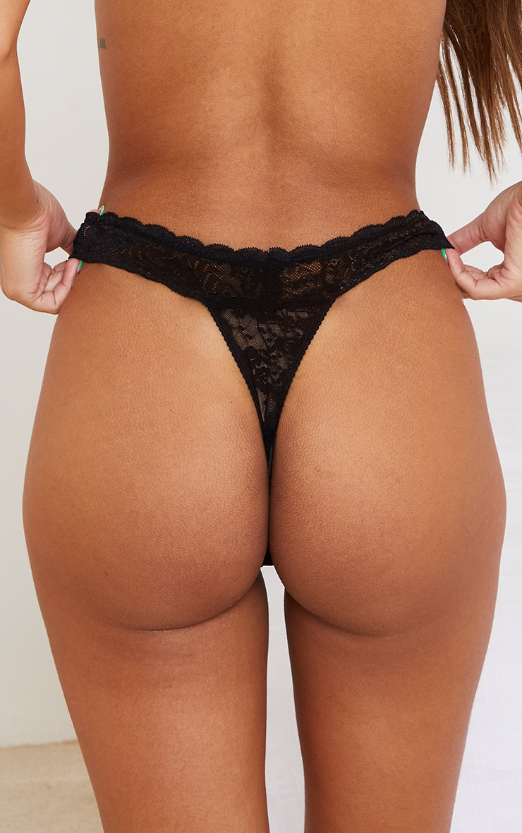 Black Basic Lace Thong 3 Pack 2