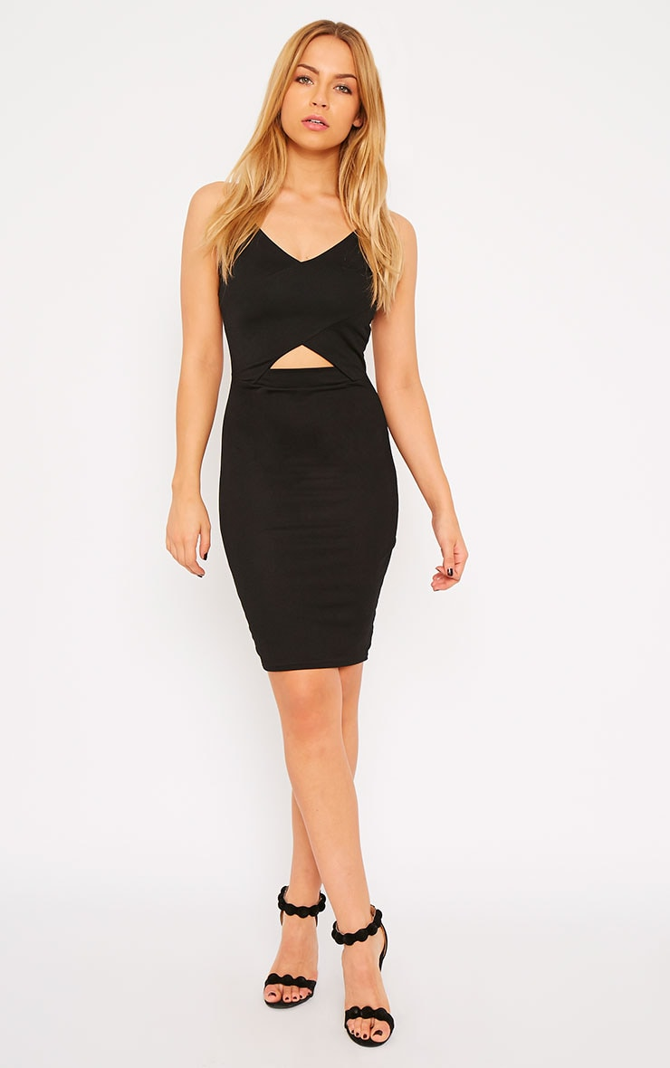 Habiba Black Crepe Keyhole Cut Out Mini Dress 3