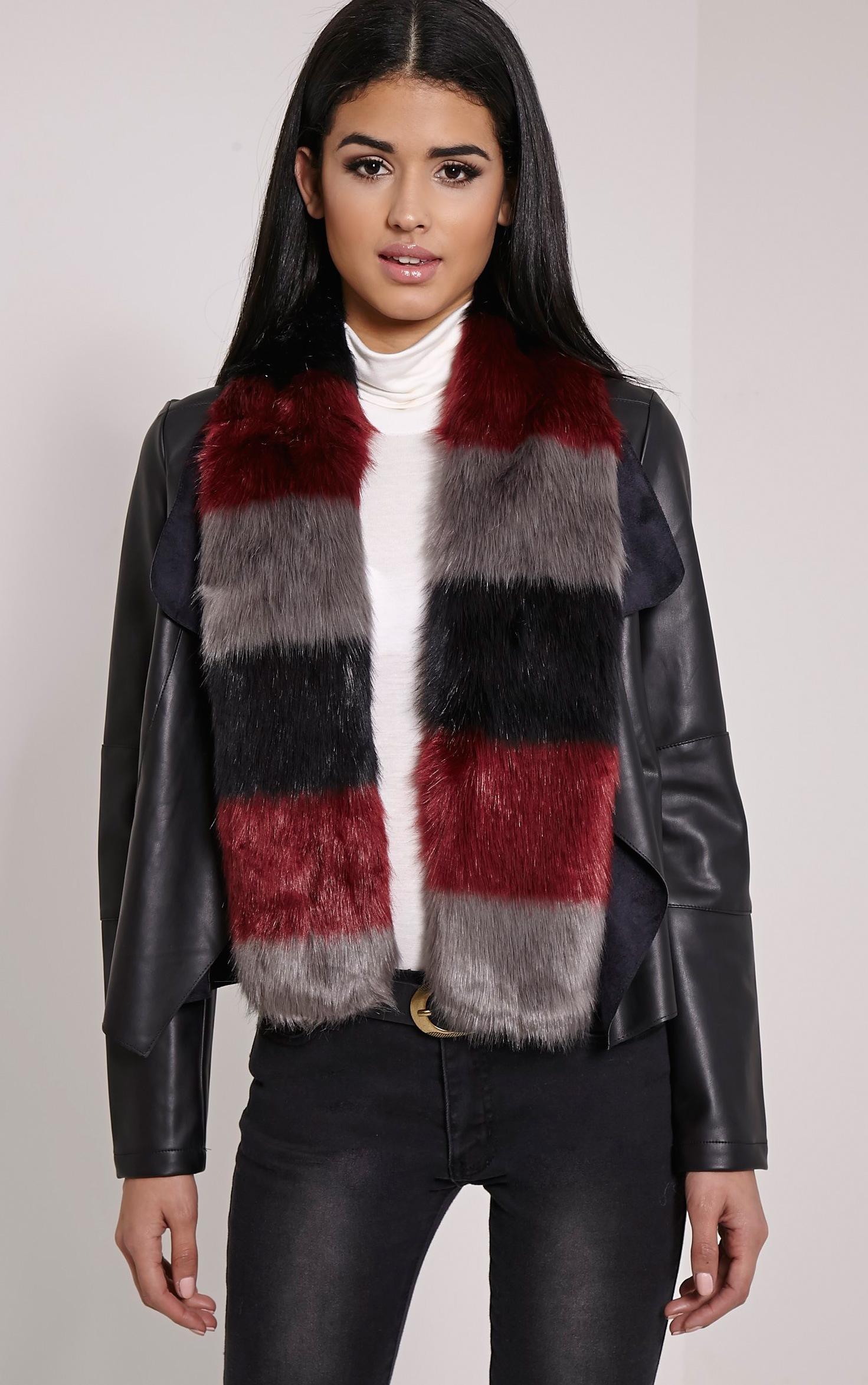 Toni Burgundy Striped Faux Fur Scarf 1