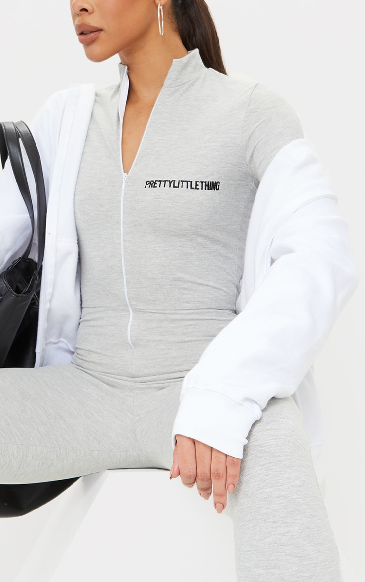 PRETTYLITTETHING Tall Grey Embroidered Zip Front Jumpsuit 4