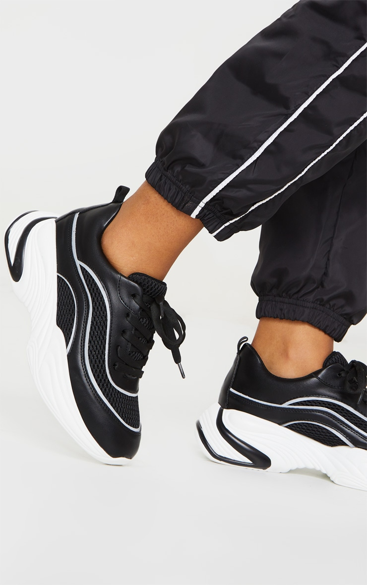 Black Mesh Panel Wave Trainers 1