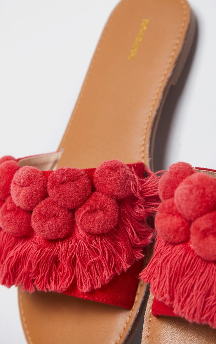 Red Pom Pom Fringe Sandal 4