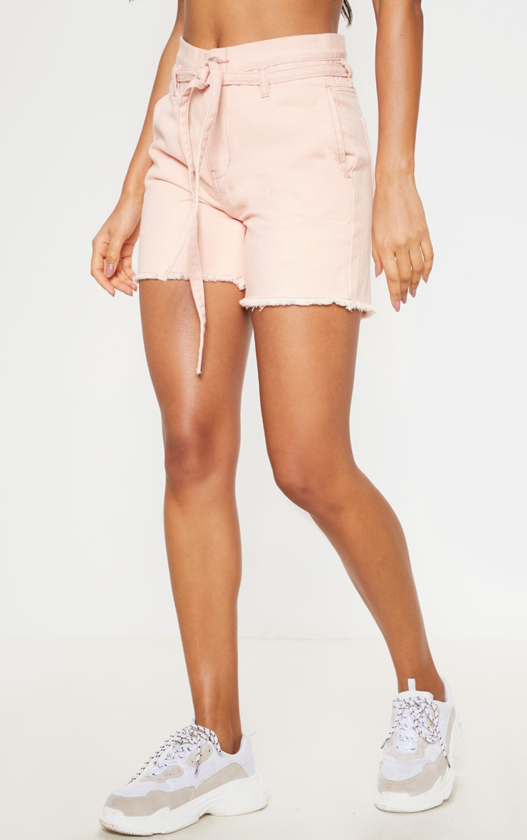 Dusty Pink Paperbag Denim Shorts 2