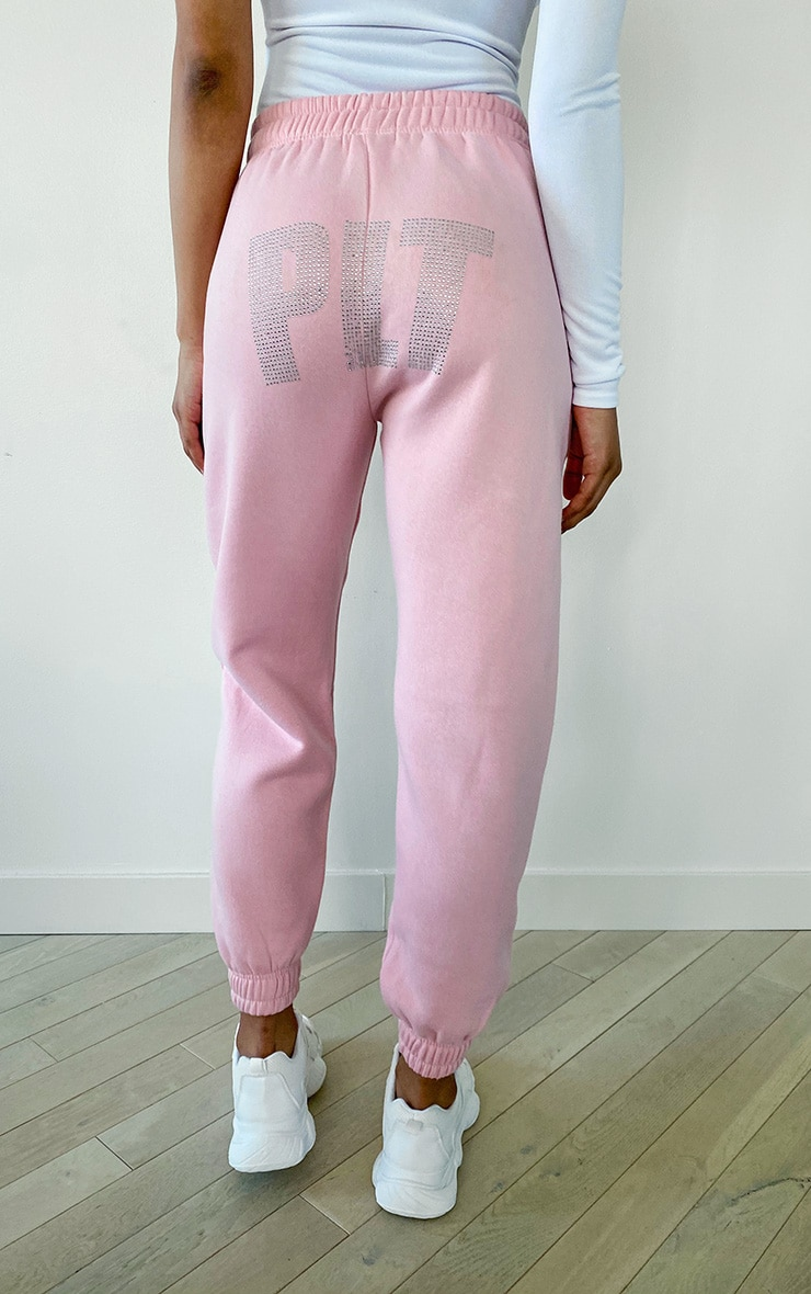 PRETTYLITTLETHING Tall Baby Pink Diamante Jogger 3