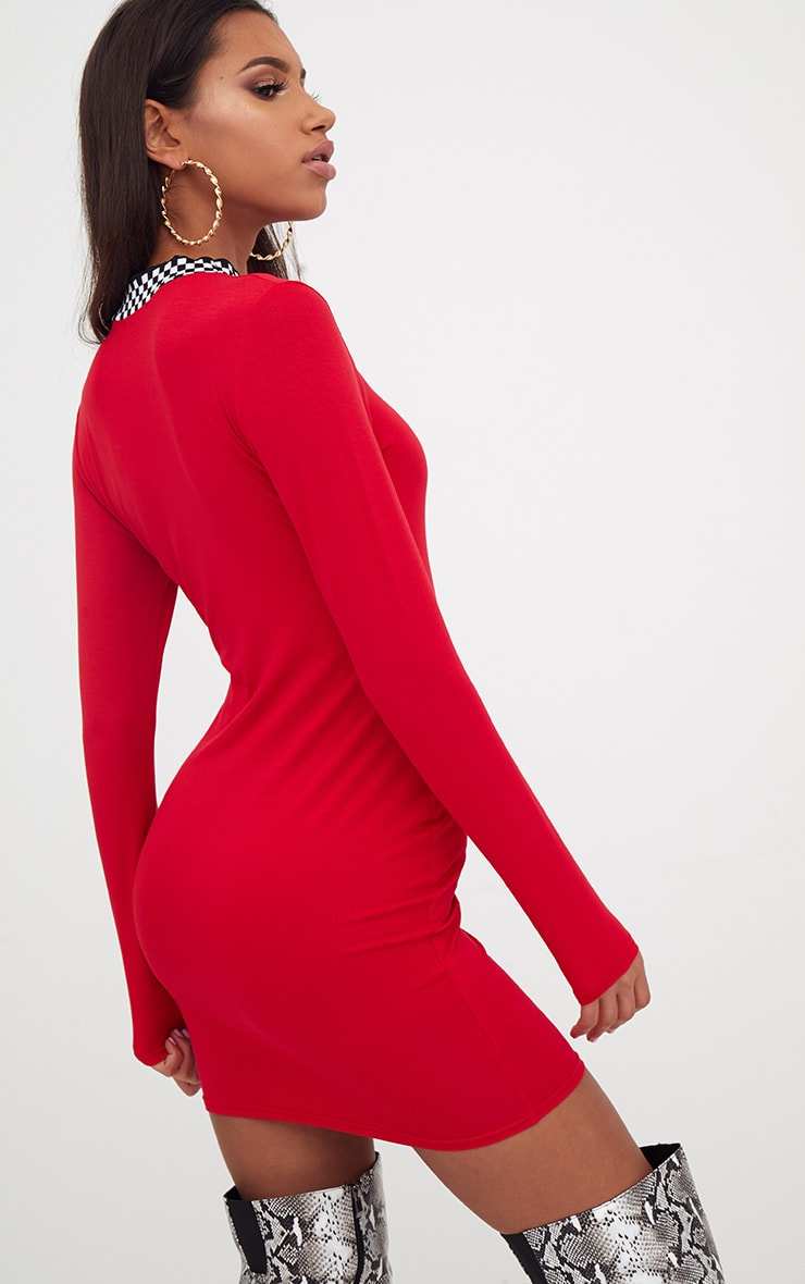 Red Motocross High Neck Dress 2
