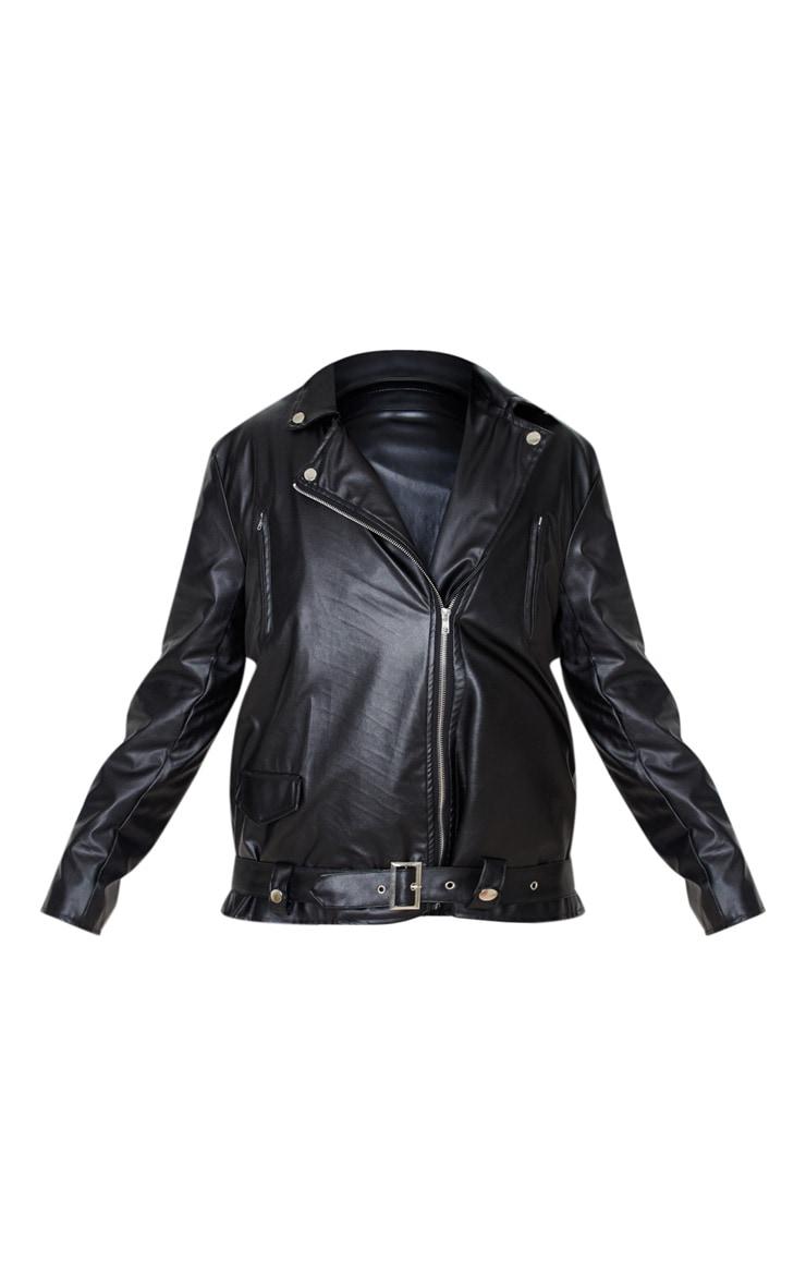 Black Faux Leather Oversized Biker Jacket 3
