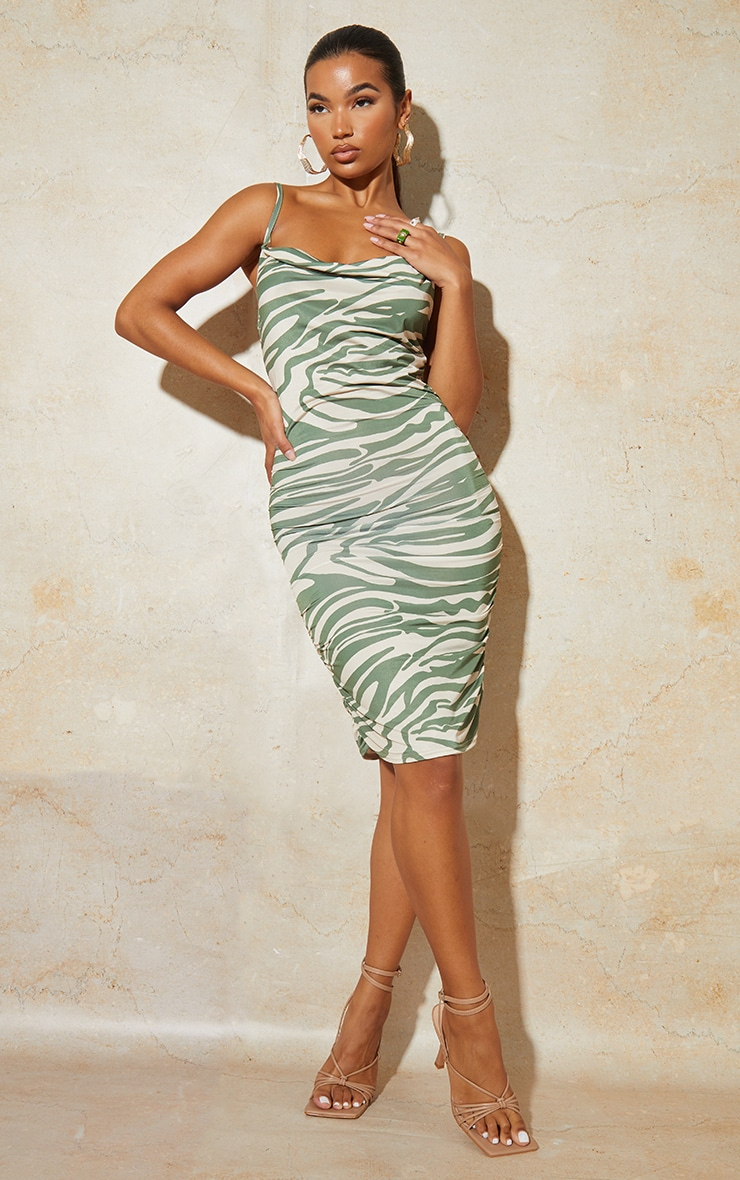 Green Zebra Print Strappy Ruched Bodycon Dress 1