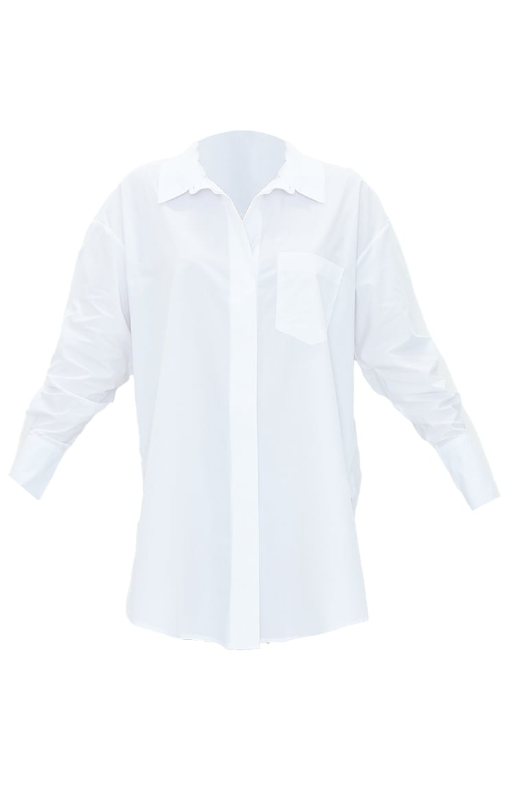 White Poplin Split Side Detail Shirt Dress 5