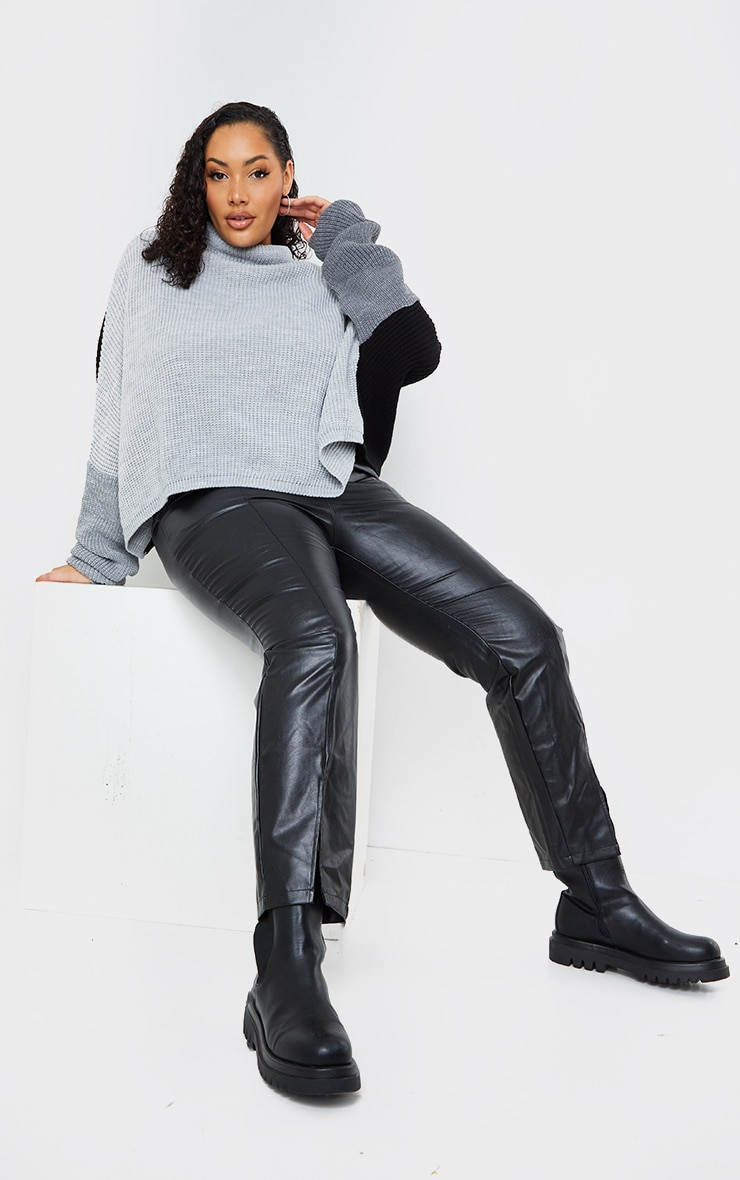 Plus Black Oversized Colour Knitted Block Jumper 1