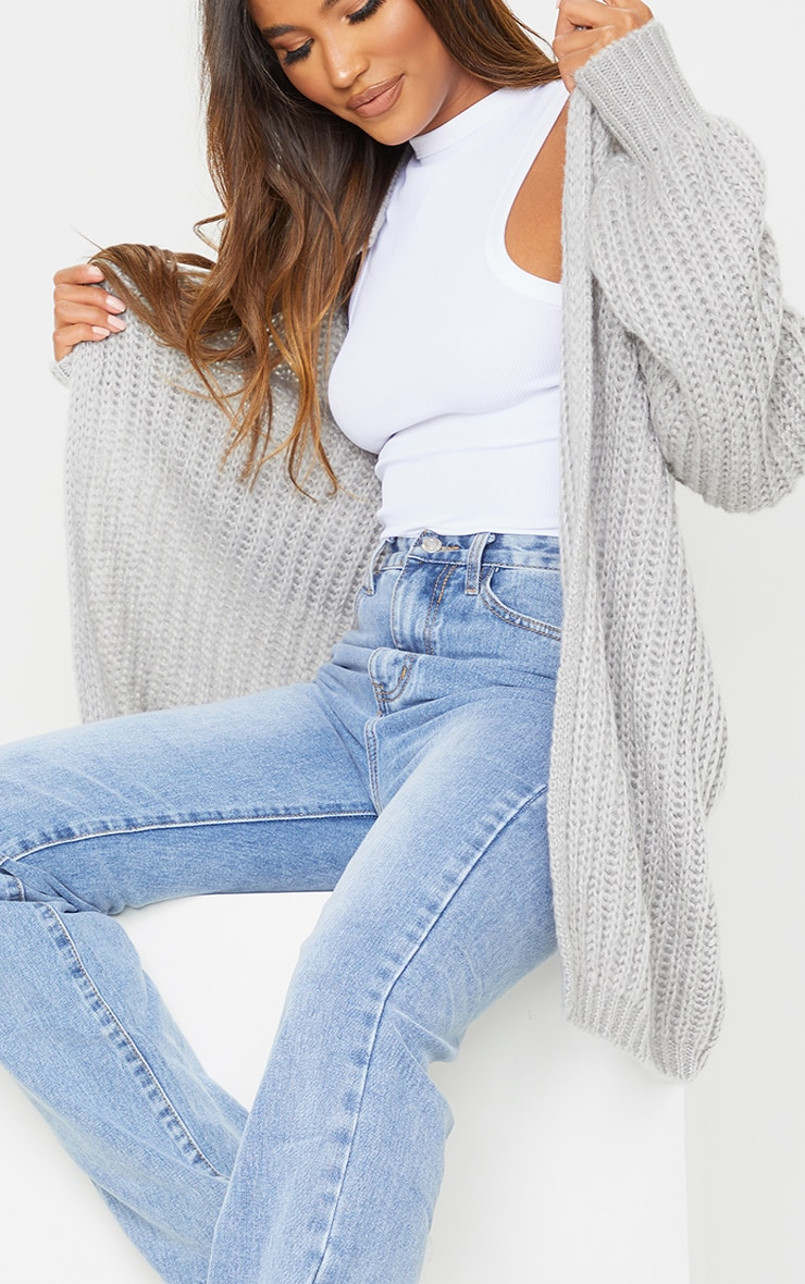 Grey Premium Fluffy Chunky Knit Balloon Sleeve Midi Cardigan 4