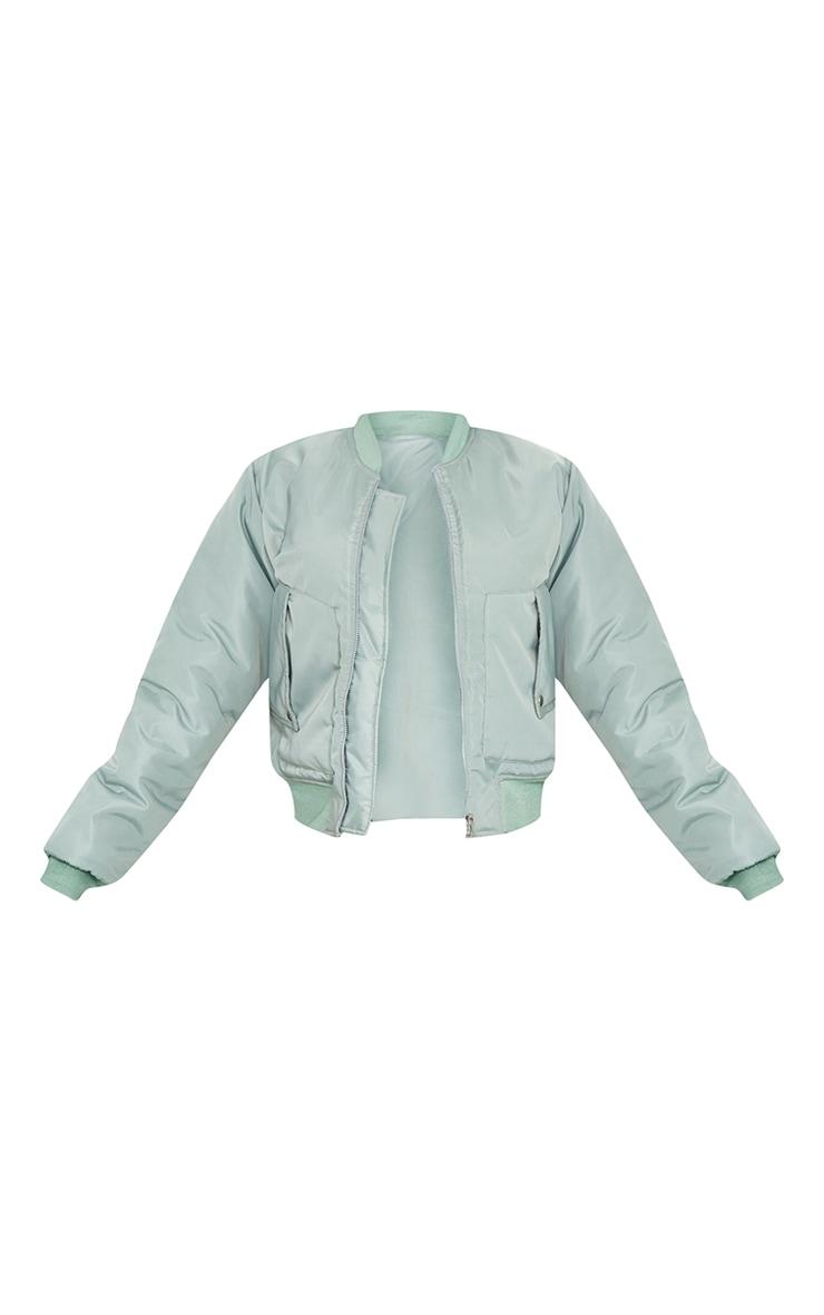 Sage Green Nylon Popper Button Pocket Bomber Jacket 5