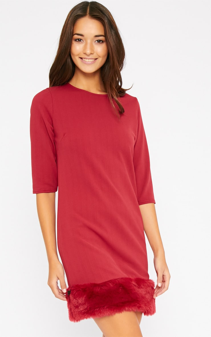 Yasmin Burgundy Fur Trim Dress 4