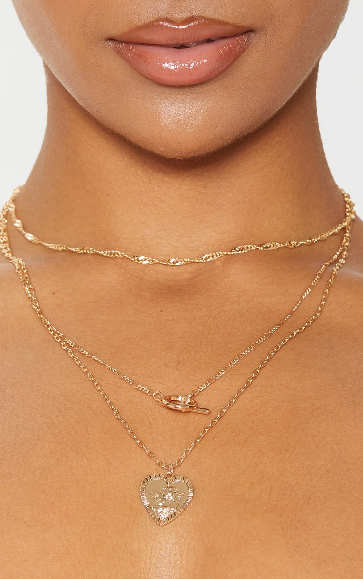 Gold T-Bar And Cherub Heart Layering Necklace 2