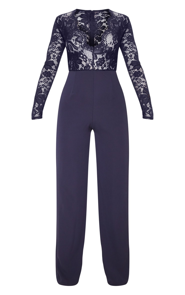 Navy Lace Long Sleeve Plunge Jumpsuit 3