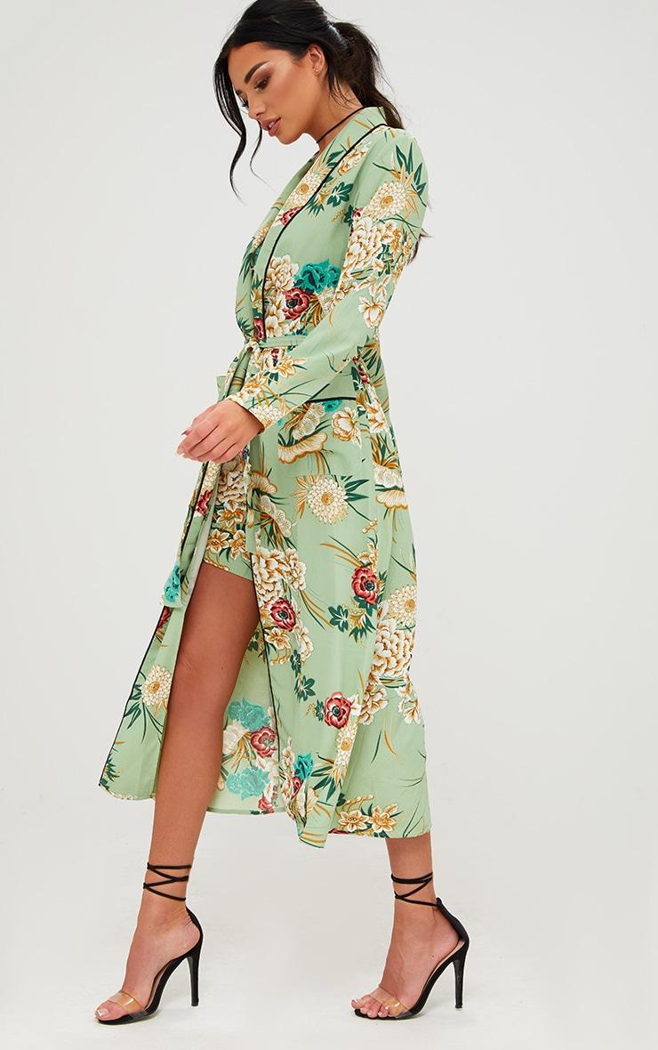 Sage Green Floral Maxi Kimono 4