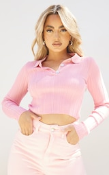 Petite Pink Sheer Knit Button Up Collared Top 1