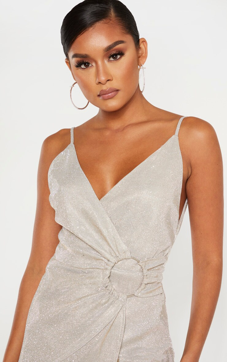 Silver Glitter Ring Detail Wrap Midi Dress 5