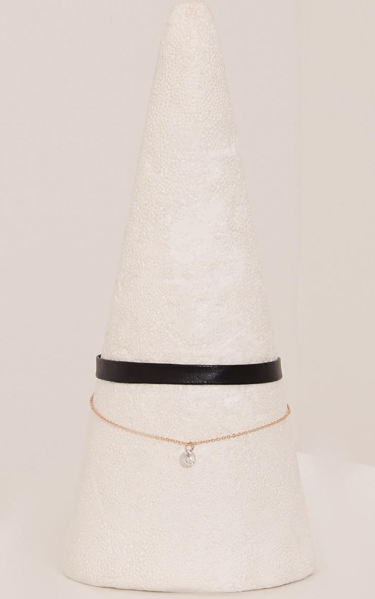 Brigid Black Diamante Drop Double Layer Choker 3
