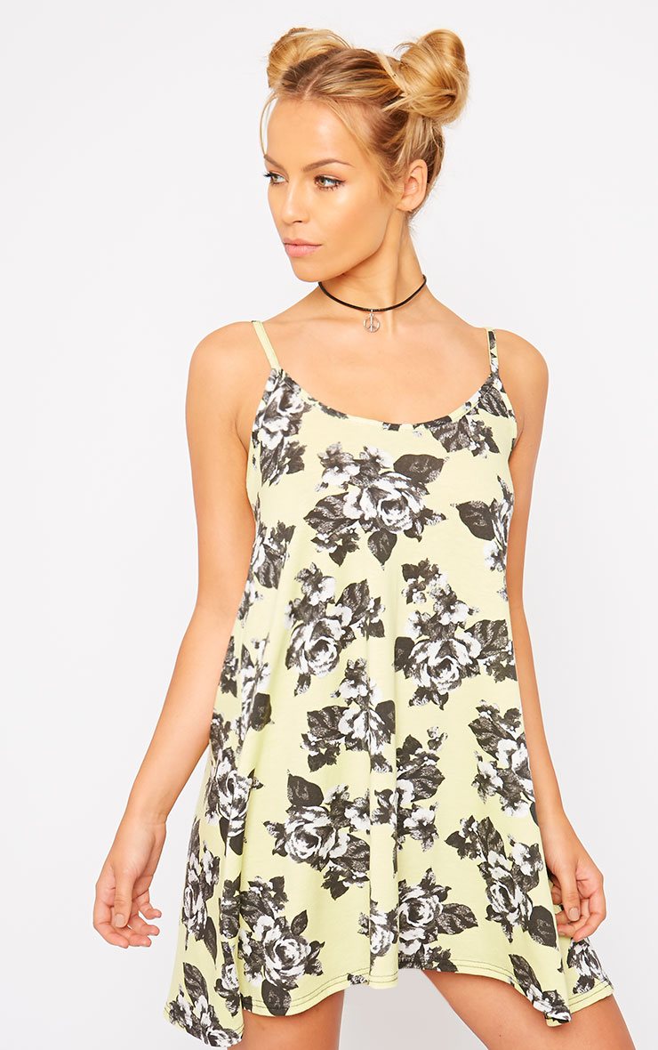 Meggie Lime Floral Swing Dress 1
