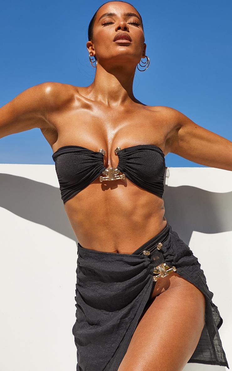 Black Linen Look Hammered Trim Beach Skirt 5