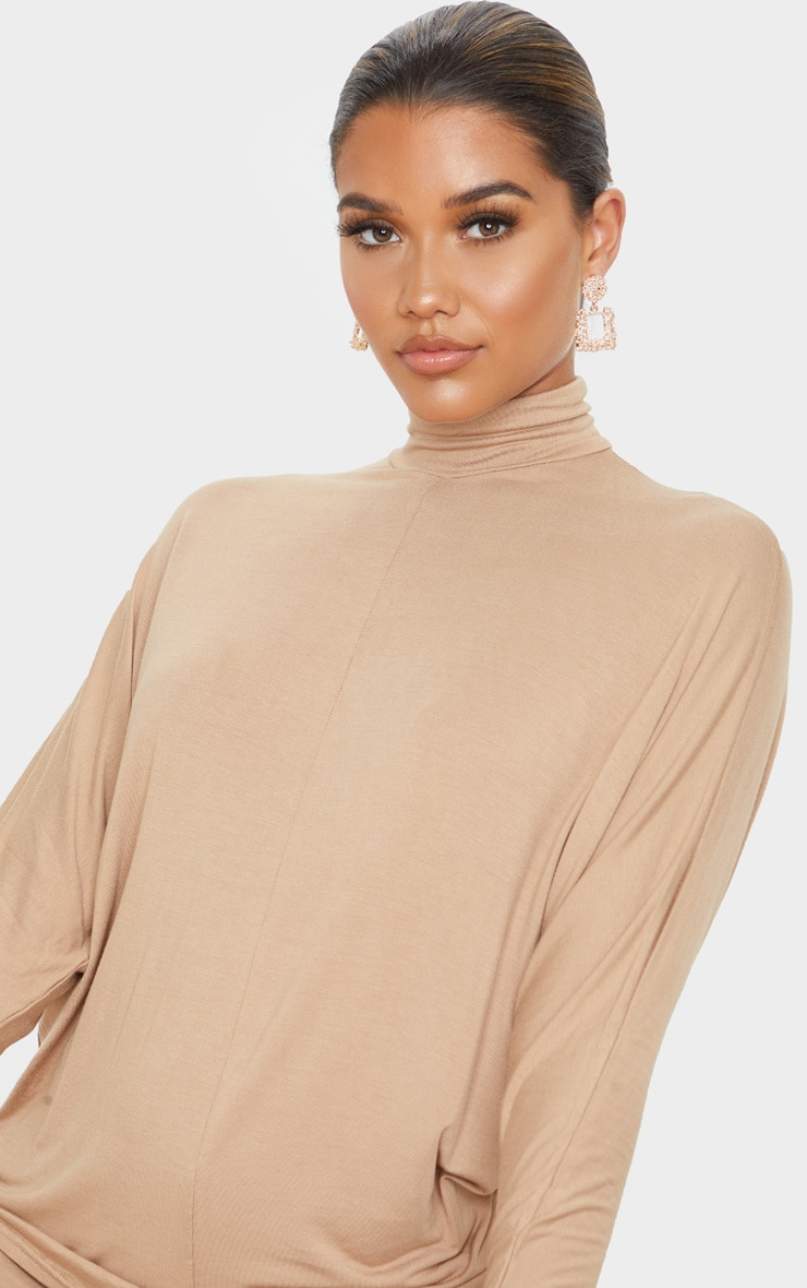 Camel Jersey High Neck Long Top 5