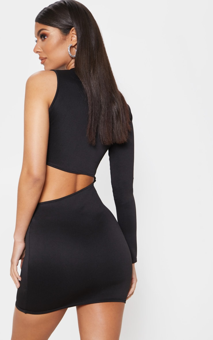 Black Plunge One Shoulder Buckle Detail Cut Out Bodycon Dress 2