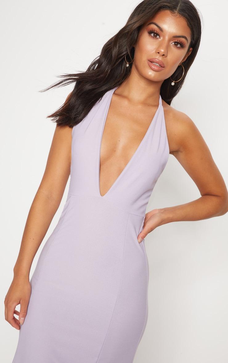 Lilac Halterneck Fishtail Maxi Dress 5