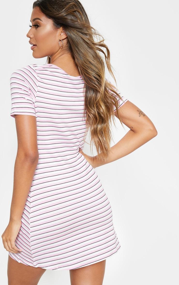 Pink Stripe Square Neck Shift Dress 2
