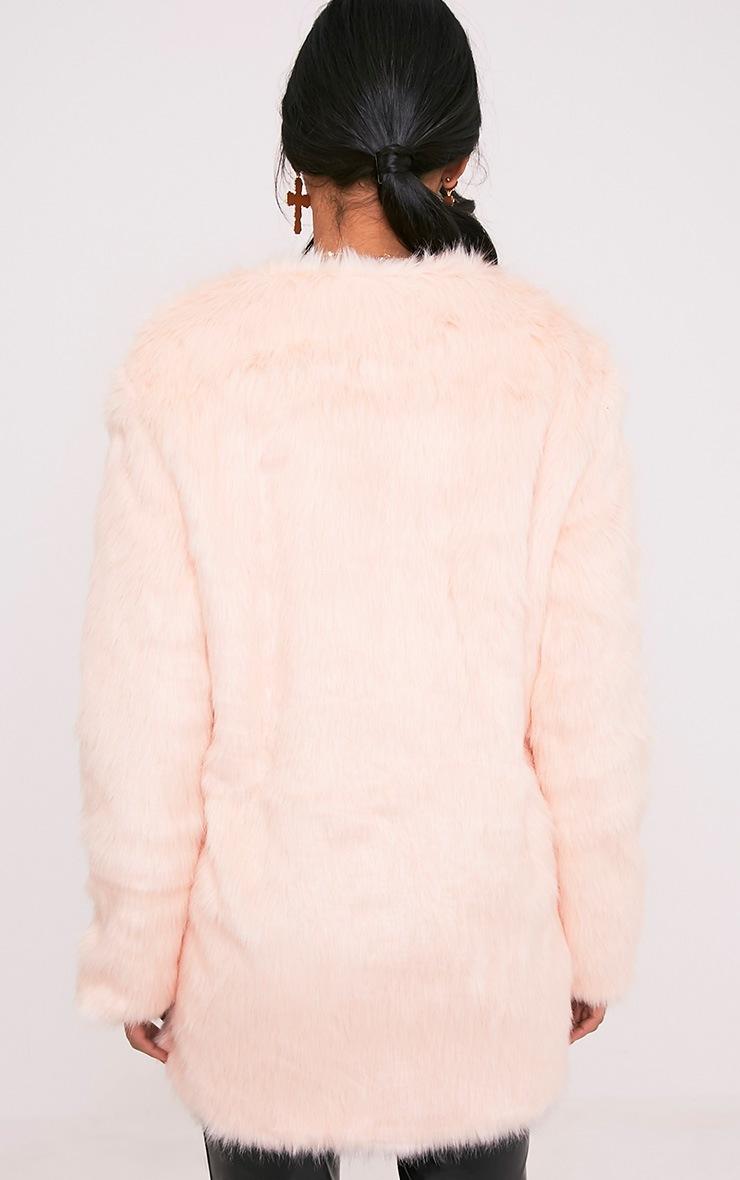 Florencia Baby Pink Faux Fur Coat 2
