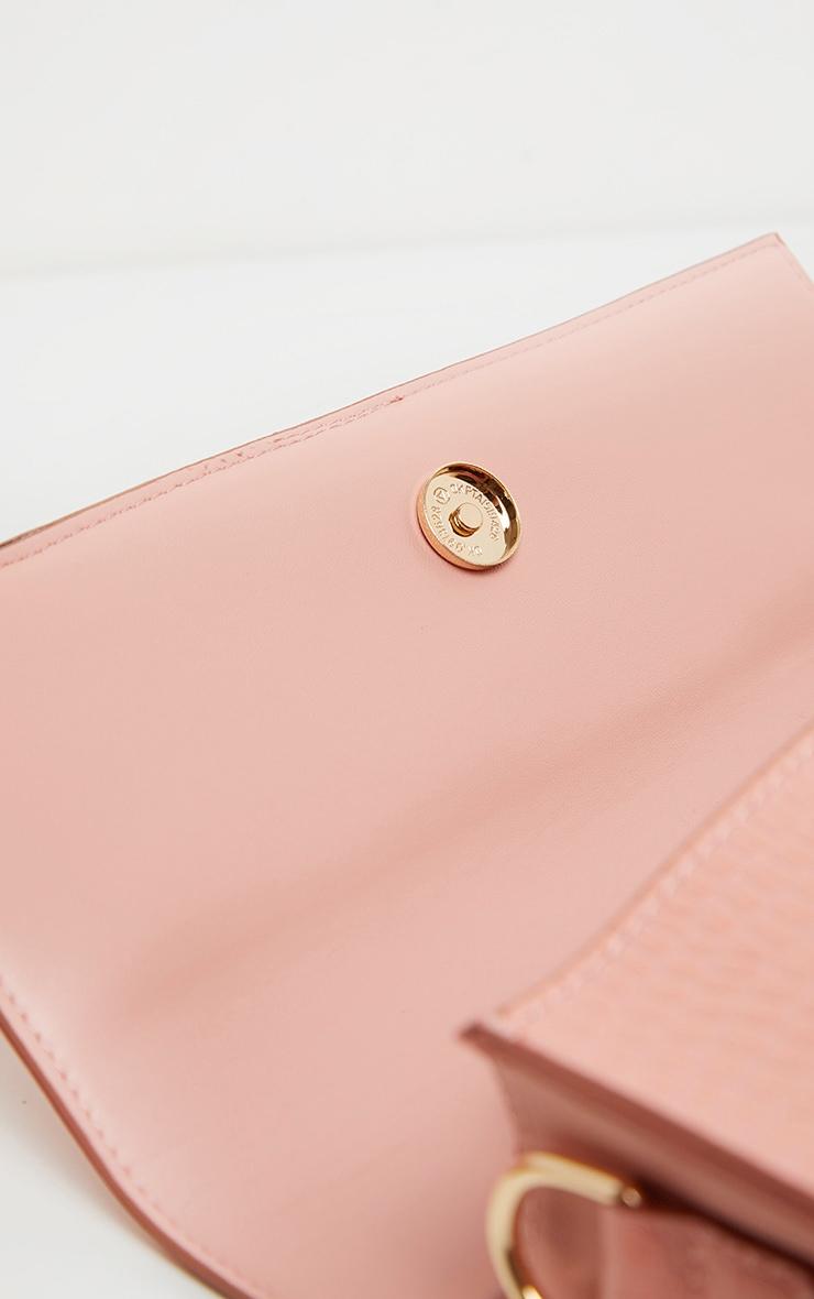 Pink Croc Large Rectangle Clutch Bag 3