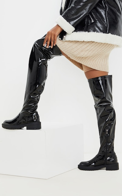 Black Vinyl Cleated Flat Over The Knee Boot