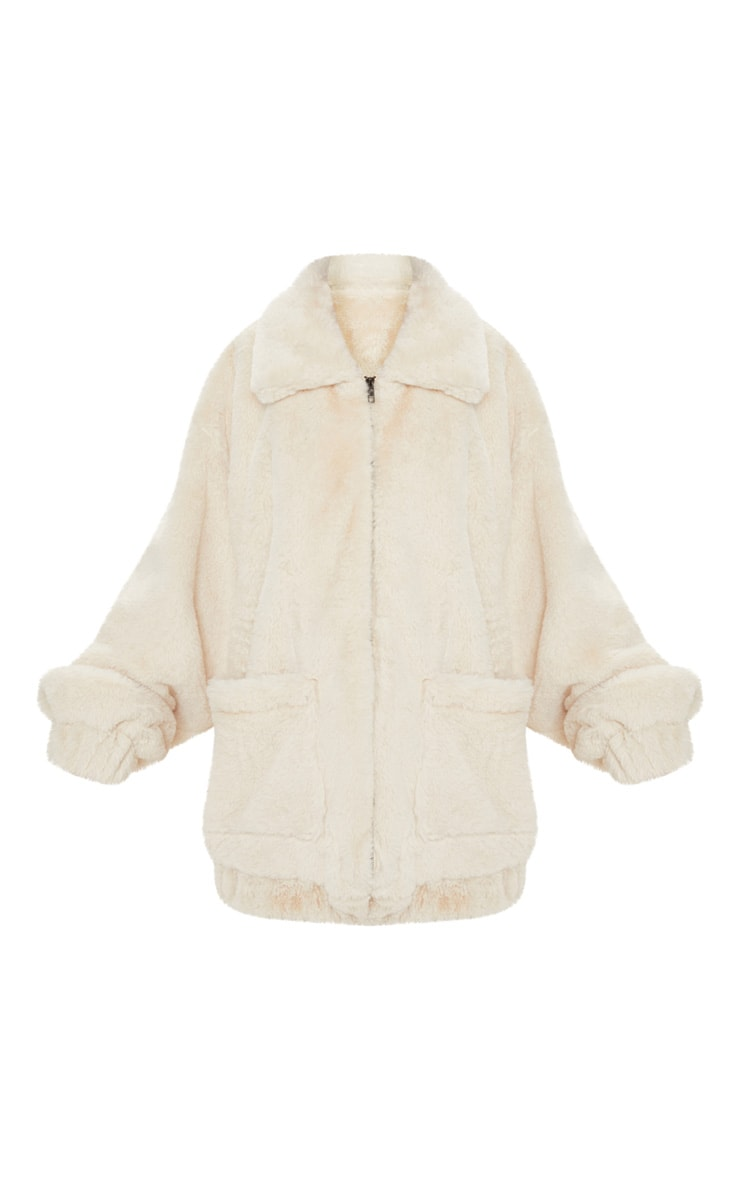 Cream Faux Fur Pocket Front Coat 3