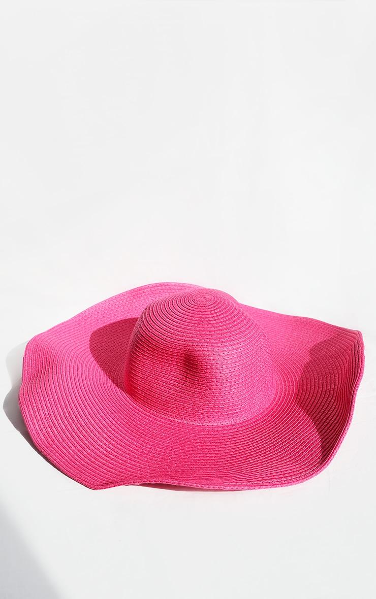 Pink Wide Brim Floppy Hat 3