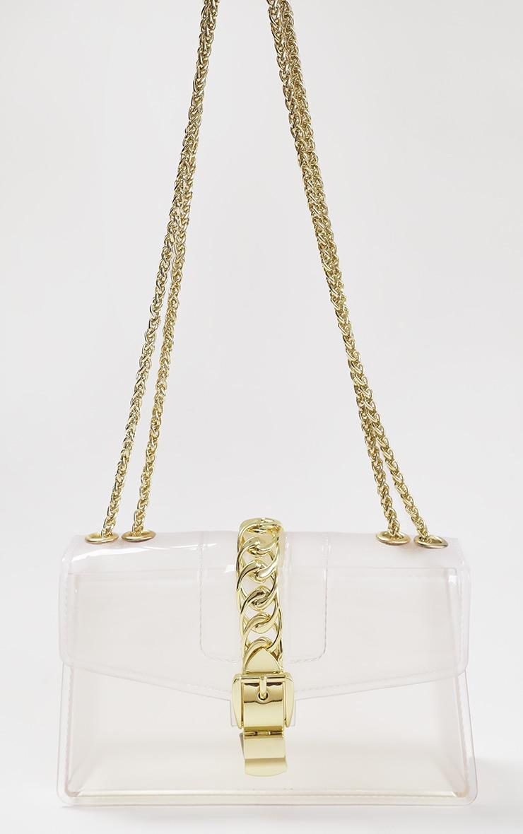 Clear Gold Chain Cross Body Bag 1