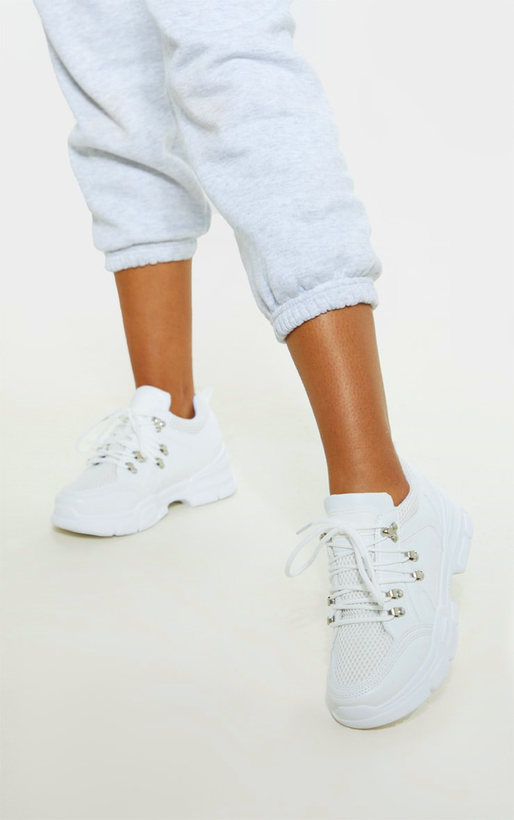 White Hiker Eyelet Detail Lace Up Trainer 1