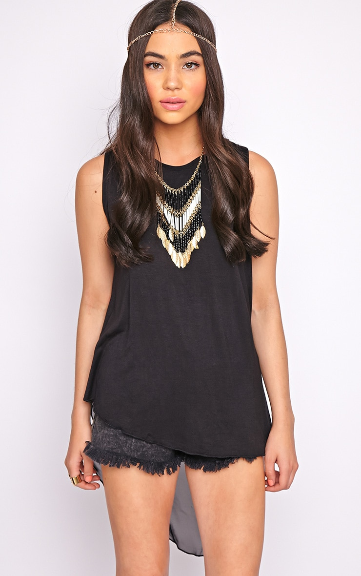 Malikah Black Dip Hem Top With Sheer Back 5