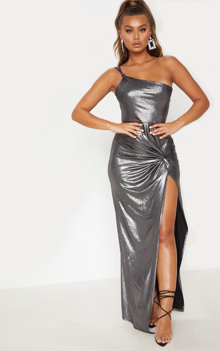 Black Metallic One Shoulder Knot Detail Maxi Dress 5
