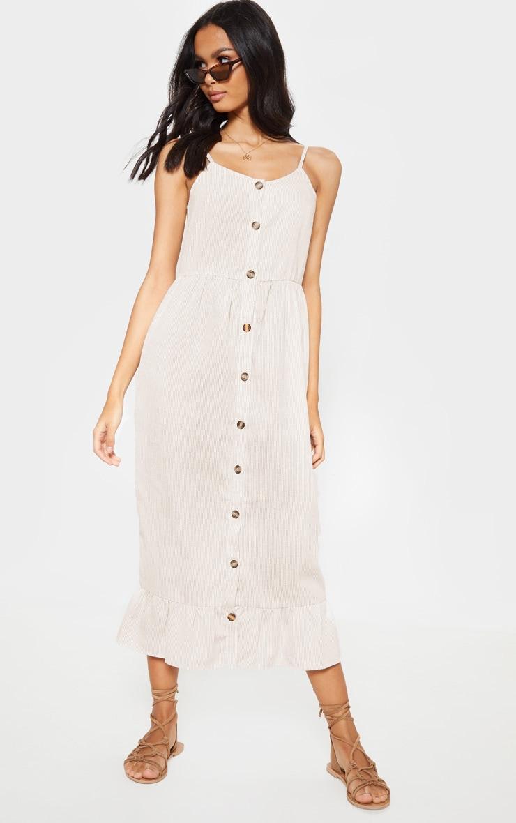 Nude Stripe Wooden Button Frill Midi Dress 1