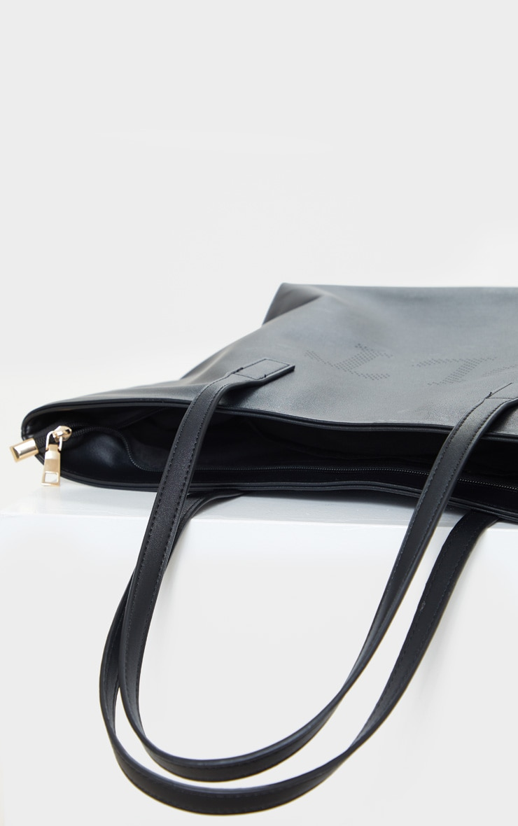 PRETTYLITTLETHING Black PU Tote Bag 4