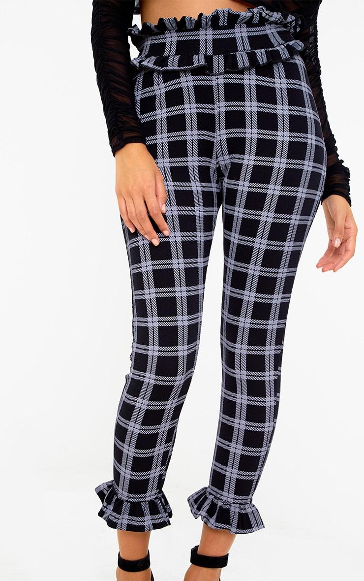 Black Check Frill Trim Pants 5