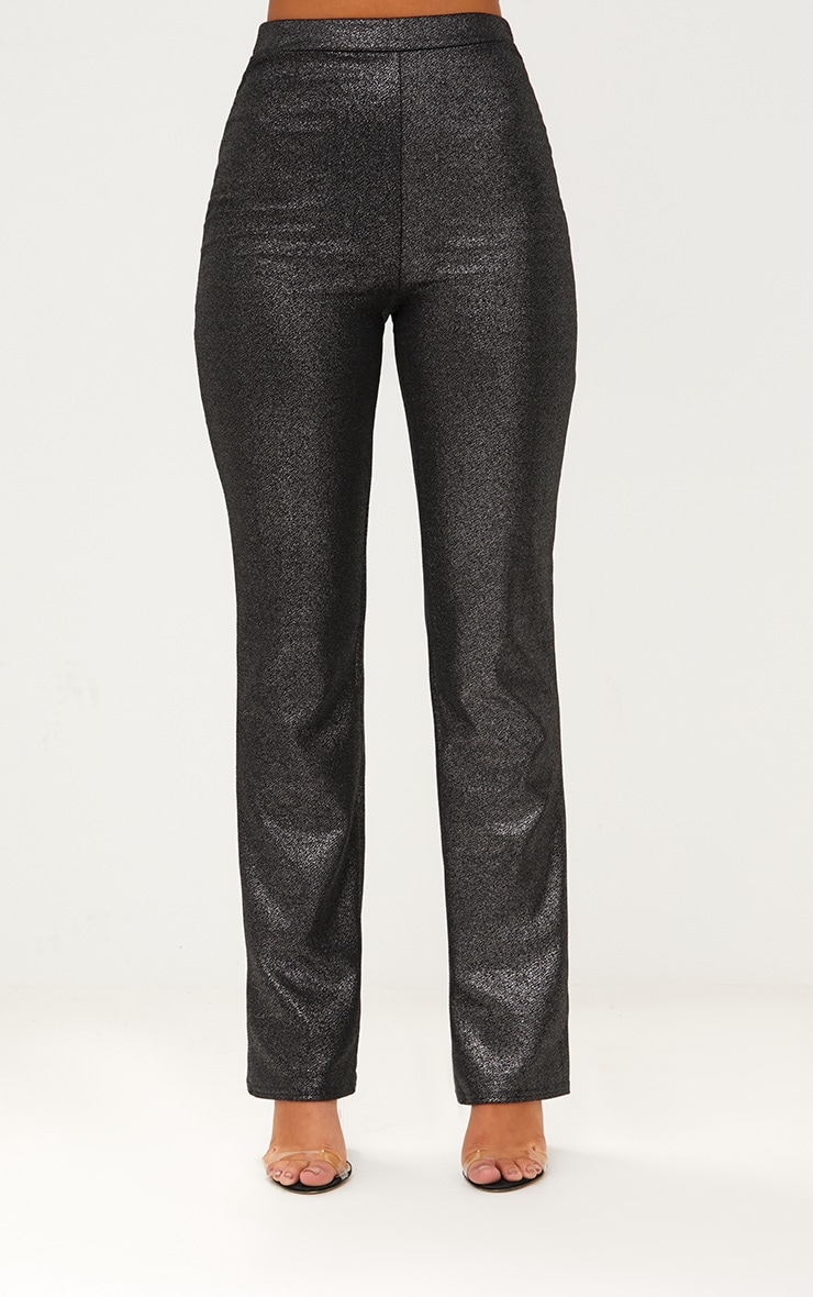 Metalic Silver Straight Leg Suit Trousers 2